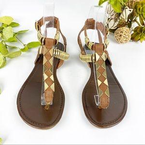 Steve Madden Thong Sandal Ankle Wrap Brown Gold